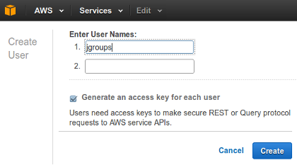 Creating a new AWS user